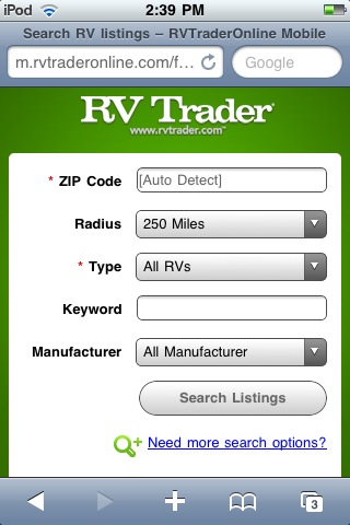 The New RV Trader Mobile Site Allows Shoppers To Quickly Find Nearby RVs For Sale And Dealerships Search Tool Users By Type