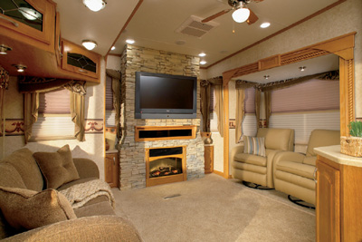 Crossroads RV's Seville features a real slate fireplace - RV ...